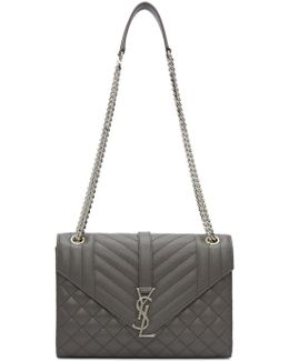 Grey Medium Envelope Monogram Bag