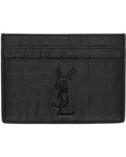 Black Croc-embossed Monogram Card Holder
