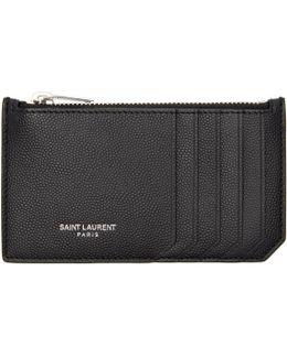 Black 5 Fragments Zip Card Holder