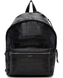 Black Croc-embossed City Backpack