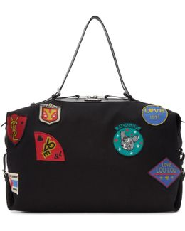 Black Large Id Convertible Patches Bag