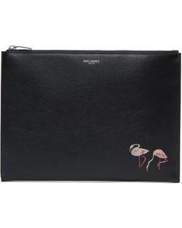 Black Flamingo Zip Pouch