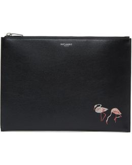 Black Flamingo Zip Pouch