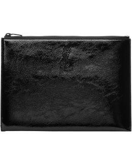 Black Patent Monogram Zipped Tablet Holder