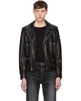 Black Studded Leather Motorcycle Jacket