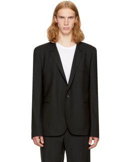 Black Wool Basic Blazer