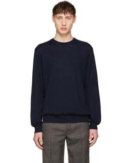 Navy Merino Knit Pullover