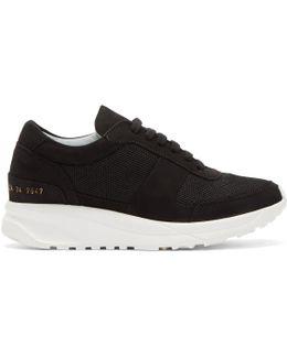 Black Suede Track Sneakers