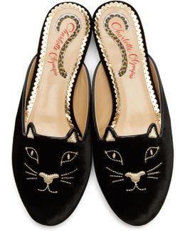 Black Velvet Kitty Slippers