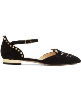 Black Mid-century Kitty D'orsay Flats