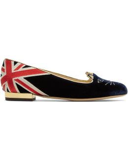 Navy Gb Kitty Flats