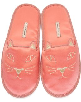 Pink House Cats Slippers