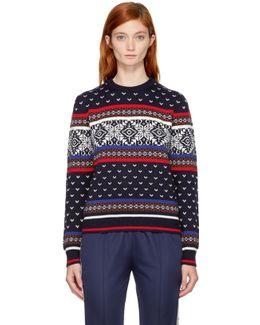 Snowflake-intarsia Wool-blend Knit Sweater
