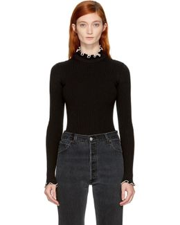 Black Ribbed Ruffle Turtleneck