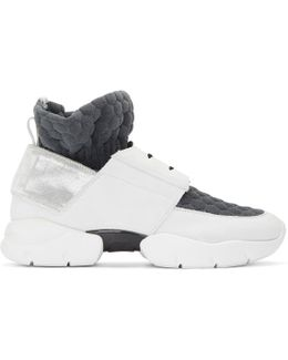 Off-white & Grey Ruched Jersey Sneakers