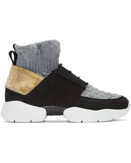 Black & Gold Ruched Jersey Sneakers