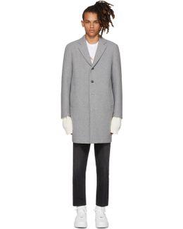 Grey Neoprene Wool Coat