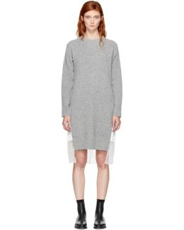 Grey & White Classic Shirting Dress
