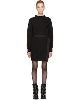 Black Sponge Belted Sweatshirt Dress