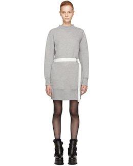 Grey Sponge Belted Sweatshirt Dress