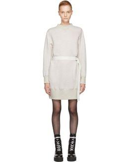 Ecru Sponge Belted Sweatshirt Dress