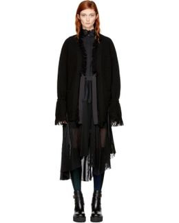 Black Belted Fringed Cardigan