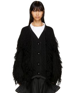 Black Fringed Cardigan
