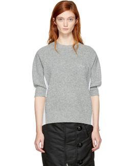 Grey & White Hybrid Shirt Pullover