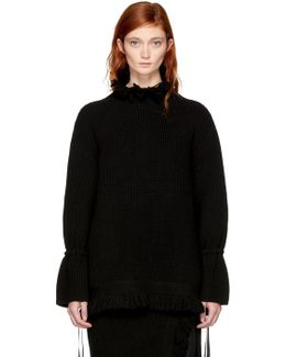Black Fringed Turtleneck