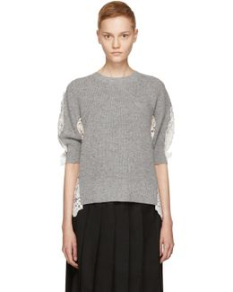 Grey & Off-white Chemical Floral Lace Sweater