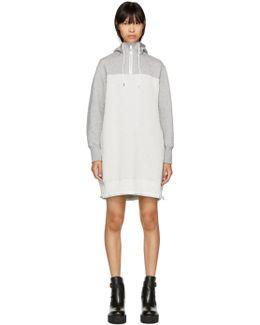 Grey & Off-white Sponge Hoodie Dress