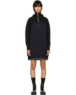 Black & Navy Sponge Hoodie Dress