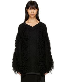 Black Fringed V-neck Sweater