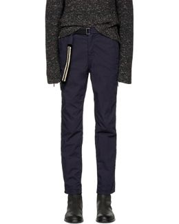 Navy Belted Cotton Trousers