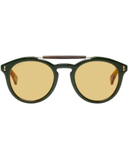 Green & Red Vintage Pilot Sunglasses