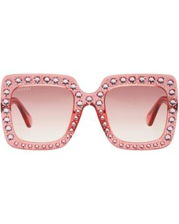 Pink Oversized Crystal Sunglasses