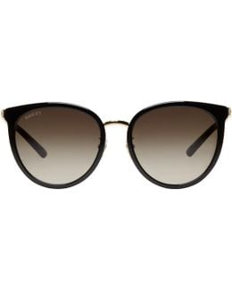 Black & Gold Retro Cat Eye Sunglasses