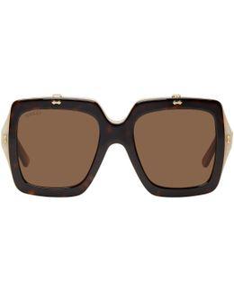 Tortoiseshell Oversized Square Flip-up Sunglasses