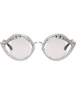 Silver Crystal Cat-eye Sunglasses