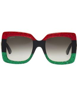Red & Black Oversized Square Sunglasses