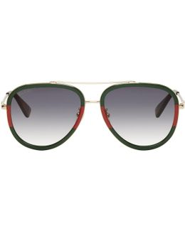 Gold Web Aviator Sunglasses