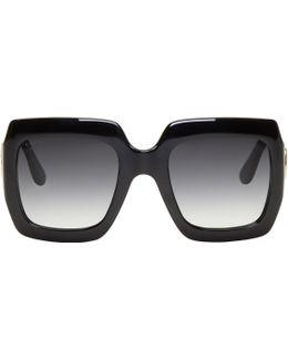 Black Oversized Rectangular Sunglasses
