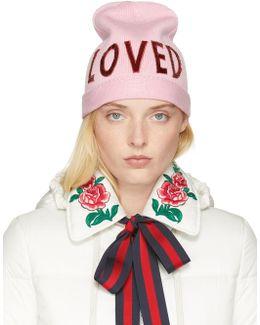 Pink Wool 'loved' Beanie
