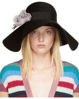 Black Felt Flower Hat