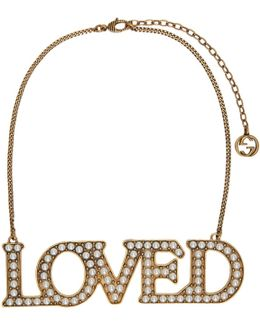 Gold Pearl 'loved' Necklace