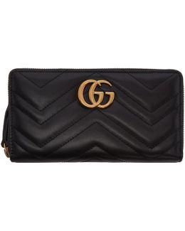 Black Gg Marmont Zip Around Wallet