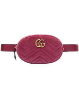 Pink Velvet Gg Marmont Matelassé Belt Bag