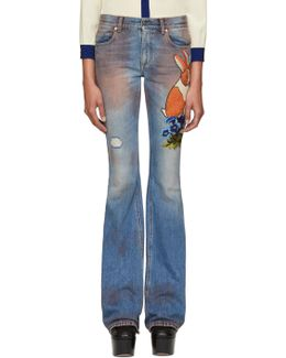 Blue Embroidered Flared Jeans