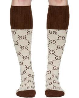 Beige Knee-high Gg Socks