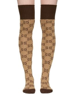 Beige & Brown Gg Supreme Stockings